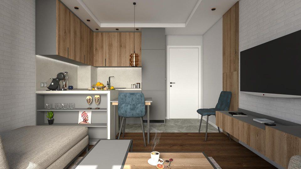 интериорен дизайн на всекидневна и кухня
